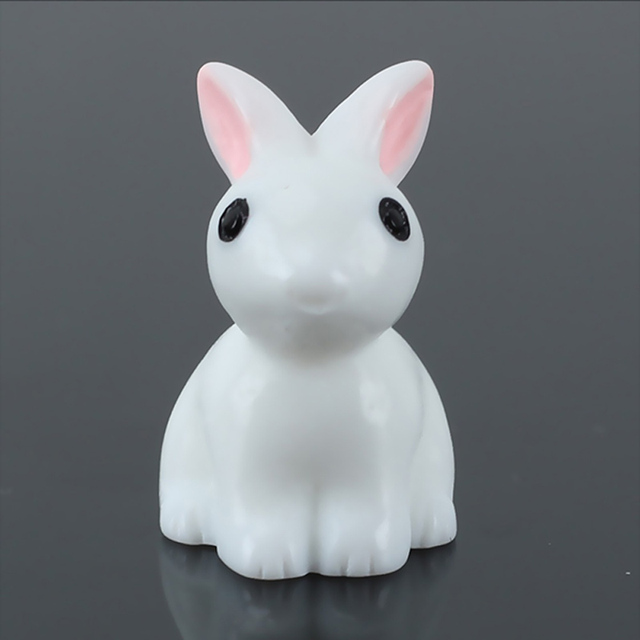 Mini lapin Miniature résine 10 pièces   Ornement de jardin féerique, Pot de plante à fleurs, Figurine Animal décor pour la maison 66CY