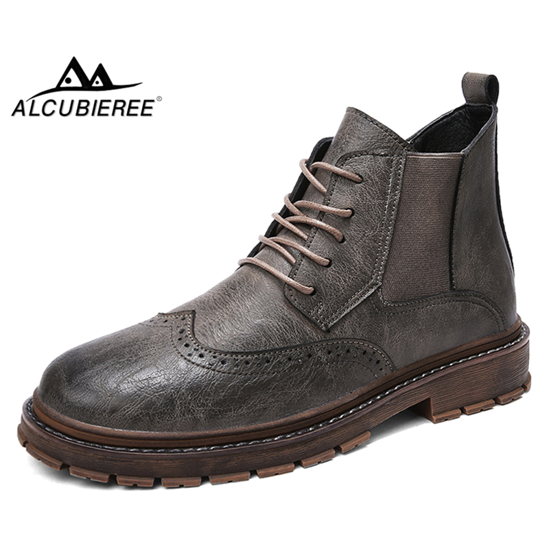 ALCUBIEREE 2018 Fashion Chelsea Boots Autumn Mens Lace-up Ankle Boot Genuine Leather Brogue Style Shoes for Men Vintage BootsALCUBIEREE 2018 Fashion Chelsea Boots Autumn Mens Lace-up Ankle Boot Genuine Leather Brogue Style Shoes for Men Vintage Boots