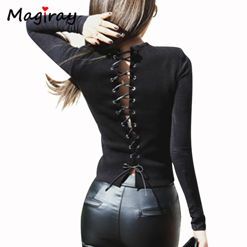 Magiray Long Sleeve T Shirt Women Cross Lace Up Bow Summer Top Sexy Back Black Female Tee Shirt Punk Rock Femme Club Tshirt C171 image