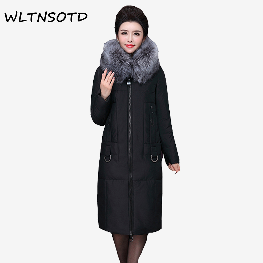 New cotton jacket women long Slim Hooded Big Fur collar coat 2017 winter Female fashion Solid warm zipper Parkas 2017 new women winter coat long quilted jacket thick warm solid color cotton parkas female slim hooded zipper outwear okb88