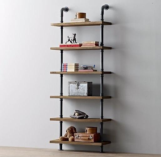 Retro Nostalgia Loft American Country Living Room Floor Shelf Display Wood Wrought Iron