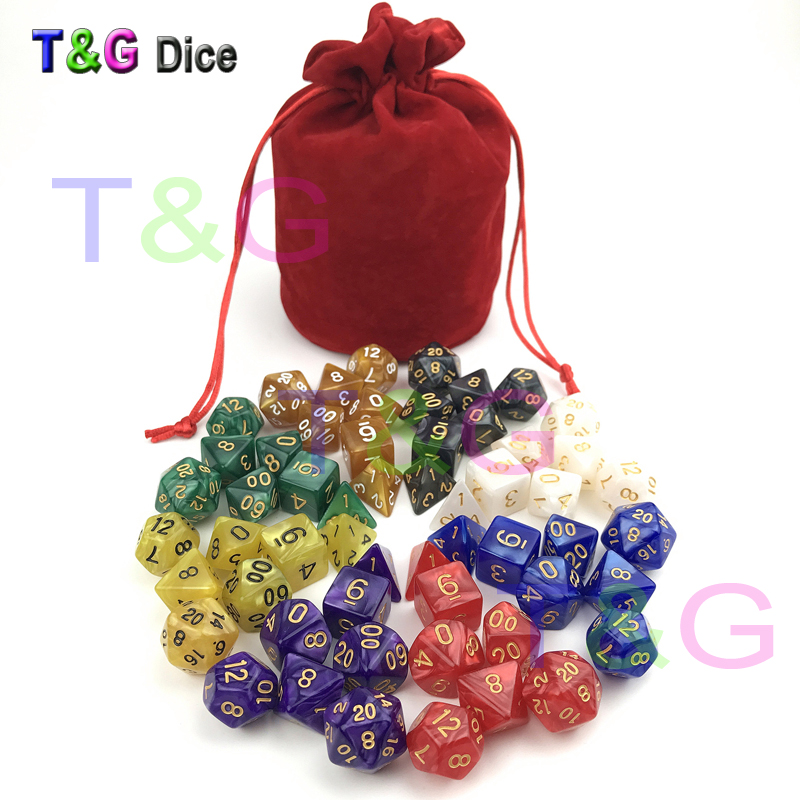 все цены на 56pcs/bag D&D Dice Sets with Pearlized Effect D4 d6 d8 d10 d10% d12 d20 RPG game Dice with bag board game gift 8 set