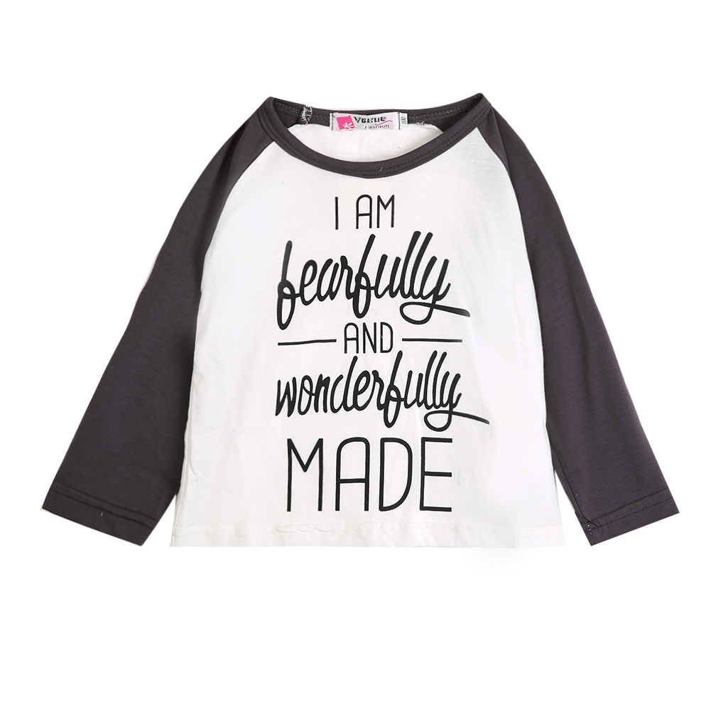 2016 Stylish Baby Kids Girls Clothing Tops Long Sleeve O Neck Cotton Letter T-shirts Pullover Blouse Set 1-6Y