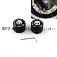 Black Motorcycle Skull Front Axle Nut Cover Cap CNC Billet Aluminum For Harley Sportster XL883 1200