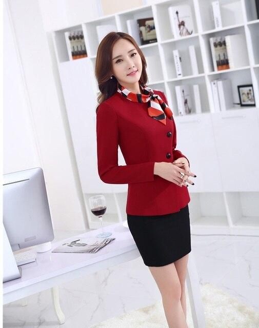 New Elegante Red Estilos Uniformes de Trabalho Profissional Ternos Tops E Saia 2015 Outono Inverno Blazers Negócios Define Ladies Escritório