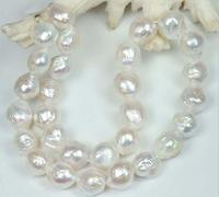 huge 11 12MM south seas kasumi white natural pearl necklace 18 yellow clasp