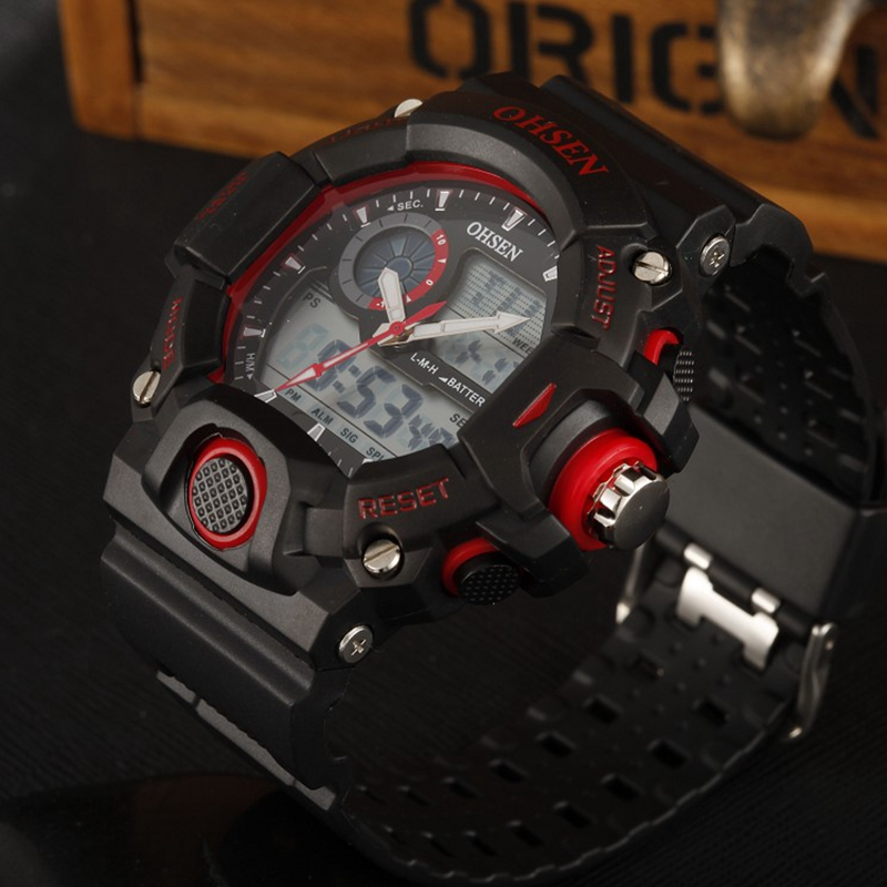 New OHSEN Mens Multifunction Sport Watch 2 Time Zone Digital Fashion Analog Quartz Black Rubber Wristwatch LED Military Watches