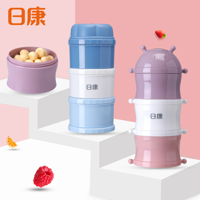 Mini Three-Layer Baby Food Box Combined Milk Powder Container Easy To Carry Baby Food Storage Snack Box Milk Powder Dispenser