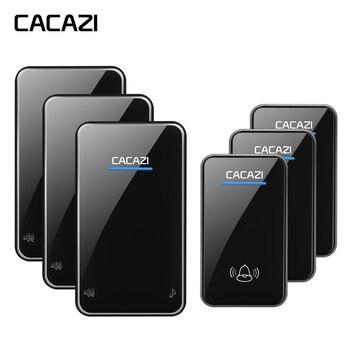 CACAZI Smart impermeable sin hilos del timbre botón AC receptor 280 m remoto llamada campana hogar ee.uu. UE Reino Unido Plug 48 canciones