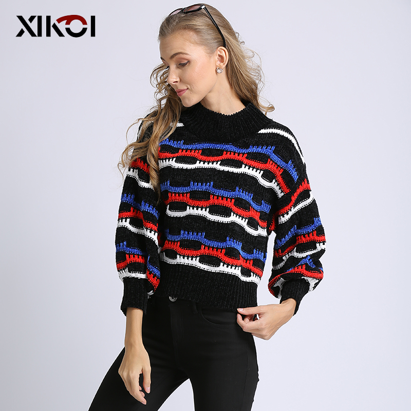 XIKOI Women Sweater Knitted Thick Oversize Lady Jumper Women's Half-Turtleneck Warm 2020 Winter Sweater Hx700