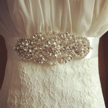 Rhinestone wedding belt, Bridal Sash,Ivory Wedding Sash and Pearl Flower Girl