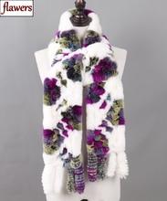 Vrouwen Echte Rex Konijnenbont Lange Sjaals Lady Winter Warm 100% Natuurlijke Rex Konijn Bont Sjaals Gebreide Kwastje Plaid Echte bont Sjaals