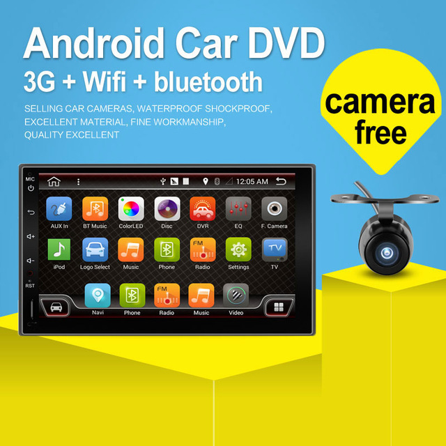 2016 Newest 2 Din 100% Pure Android 4.4 Universal Car  Player Pc Gps Navigation Stereo Video Multimedia Capacitive Screen