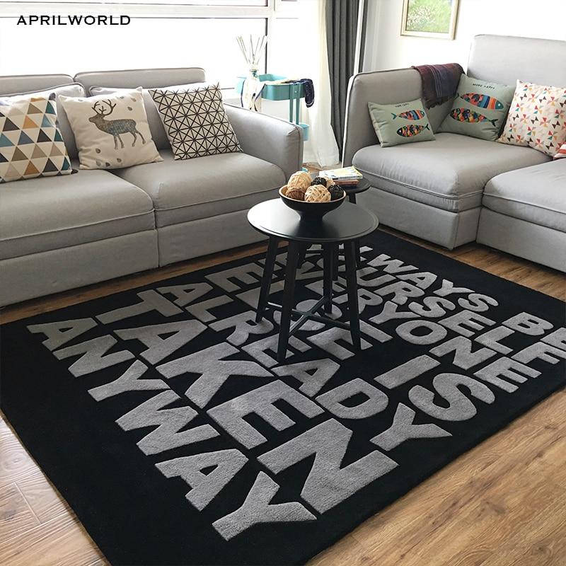 Brief grote maat Acryl tapijt alfombras Moderne Handgemaakte tapijten woonkamer Slaapkamer Mode creatieve salontafel sofa tapete-in Tapijt van Huis & Tuin op  Groep 1