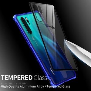 Image 2 - 耐震バンパー金属鎧透明電話ケース Huawei 社 P30 金属アルミクリア強化ガラス電話カバーケースのための P30