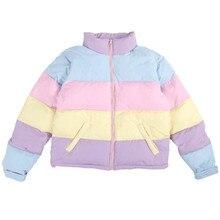 C17-New bonito mulheres seção curta de algodão Solto casaco grosso jaqueta Coréia Do Sul rainbow cor hit quente estudantes roupas pão