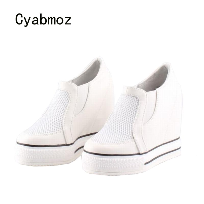 Cyabmoz Women Platform Shoes Wedge High heels Breathable Height Increasing Woman Party Ladies Shoes Zapatos mujer Tenis feminino цена и фото