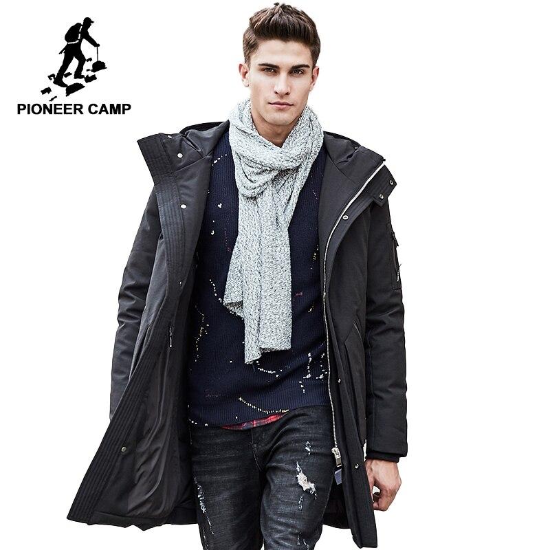 Pioneer Camp Russe hiver vers le bas veste hommes marque vêtements Top qualité Longue chaud Épais 90% Blanc duvet de canard manteau Masculin 611607