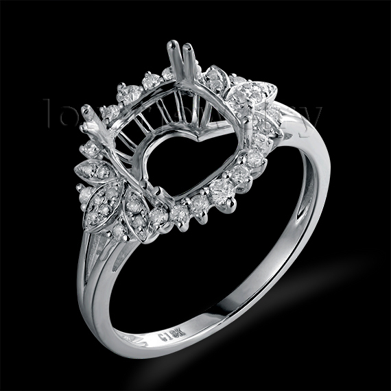 Natural Diamond Setting Ring Engagement Semi Mount Ring Solid 18Kt White Gold Cushion 8x8mm For Sale