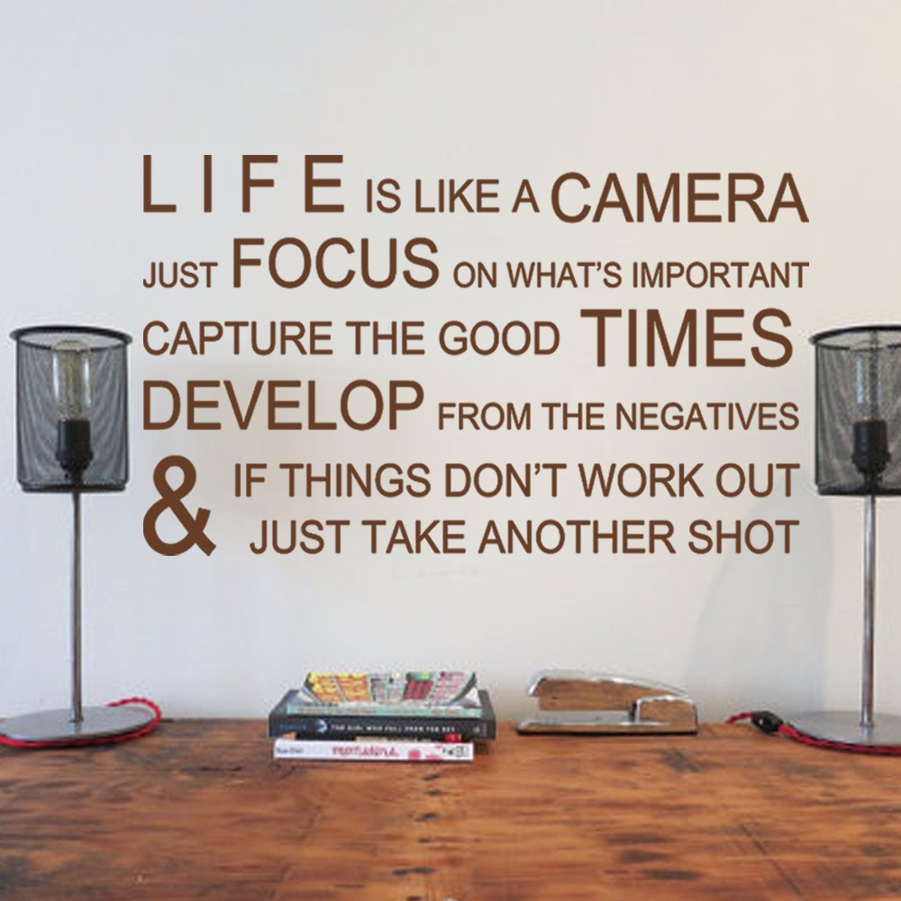 Aliexpress.com : Buy Life Is Like A Camera Office Wall Stickers Wall Decals Wall  Quotes Vinyl Mural Poster 22 Part 87