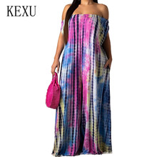 KEXU Off Shoulder Women Loose Summer Wide Leg Jumpsuits Vintage  Painted Casual Playsuits Female Hollow Out Retro Party Overalls huti retro thread printed jumpsuits sexy off shoulder sleeveless hollow out playsuits women summer vintage party casual overalls