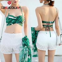 High waisted Bikini Bikini Set Swimwear Plus Size Women 3 pieces printing swimsuit bandage bath swim suit bikini