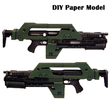 DIY Paper Model Alien 3 weapons M41   A pulse rifle Paper craft Handmade Toy Boy Christmas Birthday Gift