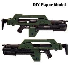 Modle z papieru do samodzielnego wykonania Alien 3 broni M41 karabin pulsacyjny prace ręczne z papieru ręcznie robiona zabawka chłopak urodziny boże narodzenie prezent
