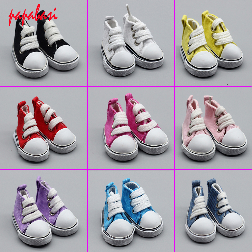 1pair 5cm mimi Fashion shoelace Canvas shoes Doll Accessories for 1/6 Bjd doll 1pair new fashion sd bjd doll accessories casual shoes for bjd doll 1 4 1 3