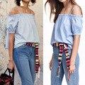 Nuevo 2016 Mujeres de Moda de Verano Fuera Del Hombro Riza La Blusa Blusas Casual de las señoras Camiseta Floja Playa Chaleco Tank Top Femme Z1