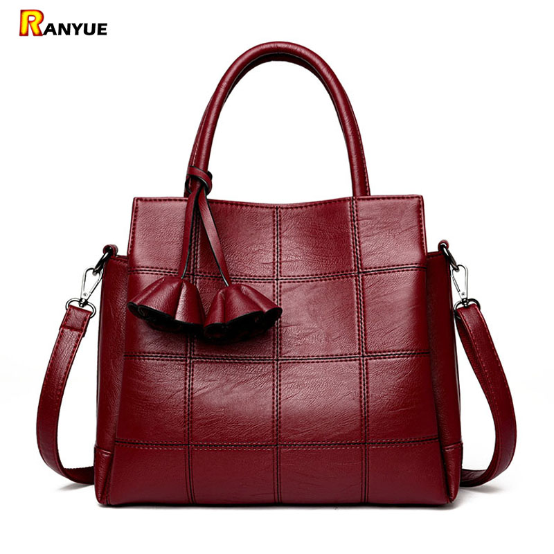 Floral Tassel Women Bag Vintage Luxury Plaid Bag Women Handbag Pu Leather Tote Bolsos Mujer Ladies Shoulder Bags Famous Brand