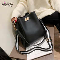 HISUELY Hot Sale New Women PU Leather Handbags Fashion Designer Black Bucket Vintage Shoulder Bags Messenger Bag High Quality