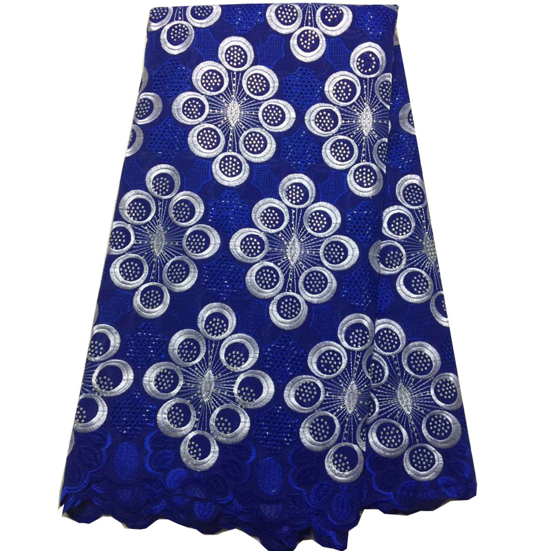 (5yards/p) beautiful African Swiss voile lace fabric in royal blue with embroidery and lots of stones for party dress  CLS213