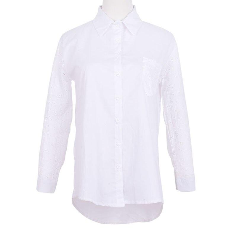 Tops Hueco Camisa Ropa Manga Collar Moda De Botón Blanco Turn down Blusa Larga Ol 2018 qaCgwxExO