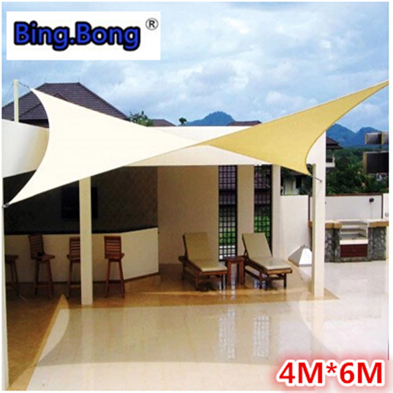 Outdoor Sun Shade Sail 4x6m Pu Waterproof 100 Cloth Canvas Awning