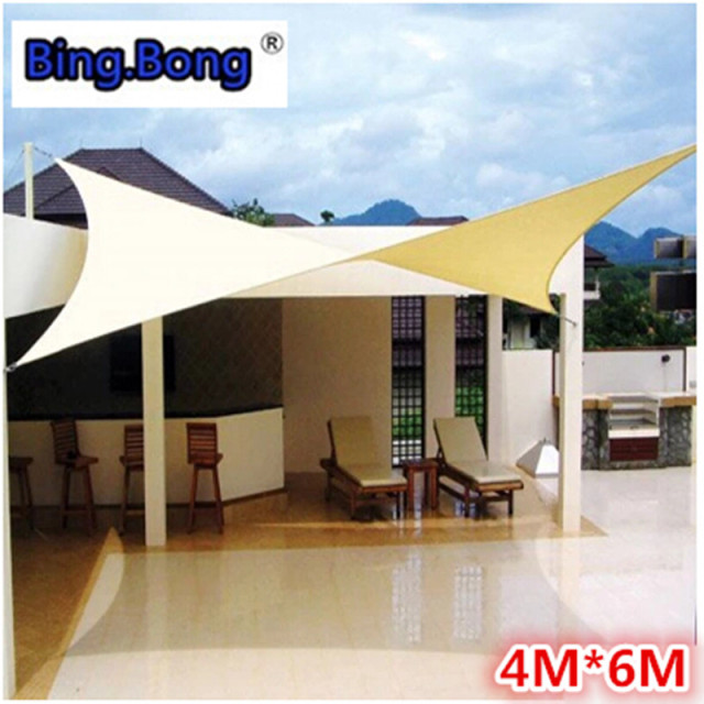 Outdoor Sun Shade Sail 4x6m PU Waterproof 100% Cloth Canvas Awning Canopy Beach Shading Gazebo & Outdoor Sun Shade Sail 4x6m PU Waterproof 100% Cloth Canvas Awning ...