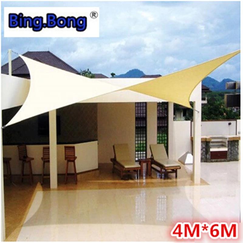 Outdoor sun shade sail PU waterproof cloth 4x6m canvas ...