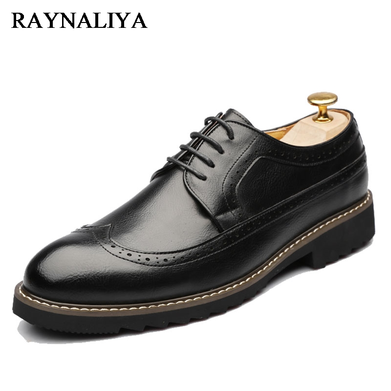 2018 Men Dress Shoes Simple Style Quality Men Oxford Flats Lace-up Brand Men Formal Shoes Men Leather Wedding Shoes LJG-A0009