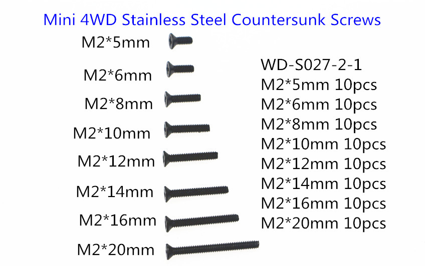 Rfdtygr RC Мини 4WD m2 Нержавеющаясталь потайной Шурупы черный Шурупы для Tamiya мини 4WD wd-s027-2-1 80 шт./лот