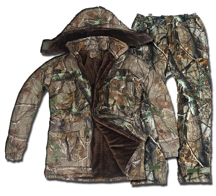Tactique Hiver Thermique Polaire Chasse de Costumes Hommes Étanche Bionique Camouflage Vêtements Ghillie Costume Camo Coupe-Vent Veste