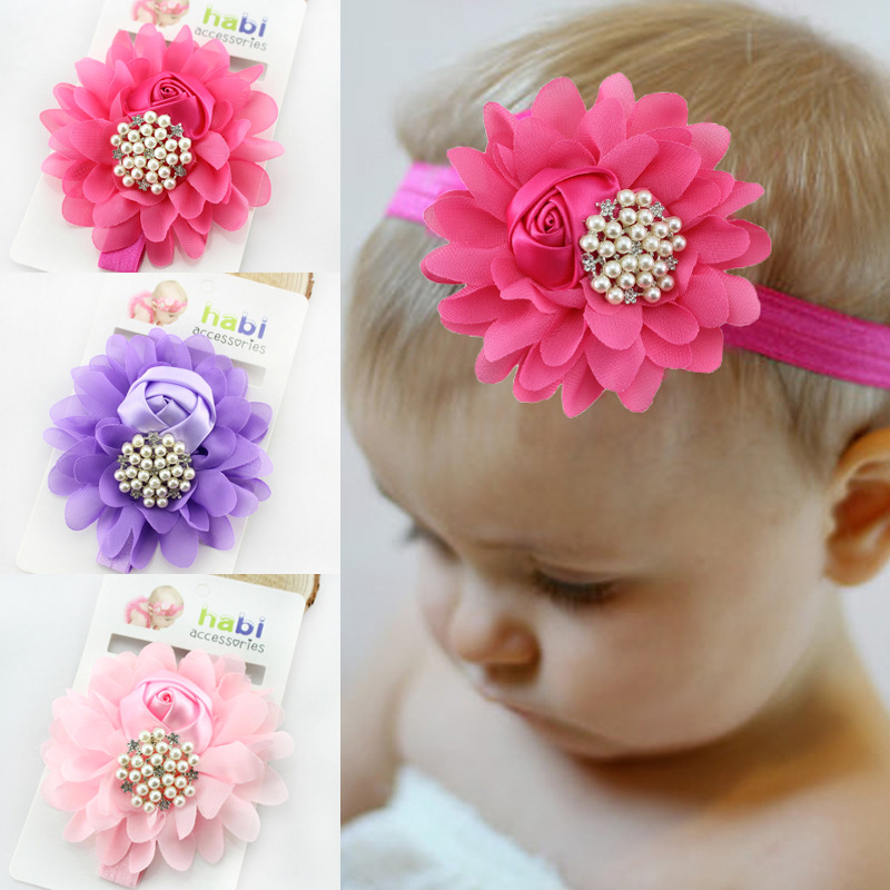 baby girl headband Infant hair accessory cloth band bows Pearl newborn   Headwear   tiara headwrap Gift Toddler bandage Ribbon Rose