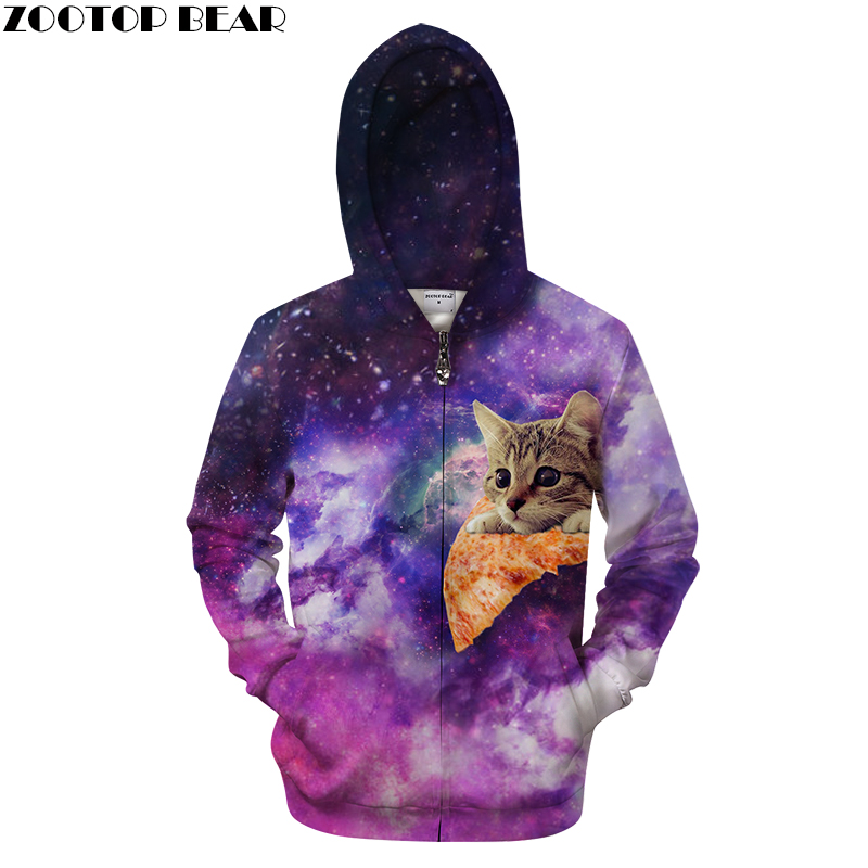 Galaxy Zip Hoodies 3D Men Women Sweatshirts Hooded Tracksuits Cardigan Unisex Brand Tracksuit Fashion Casual Hoodies ZOOTOP BEAR