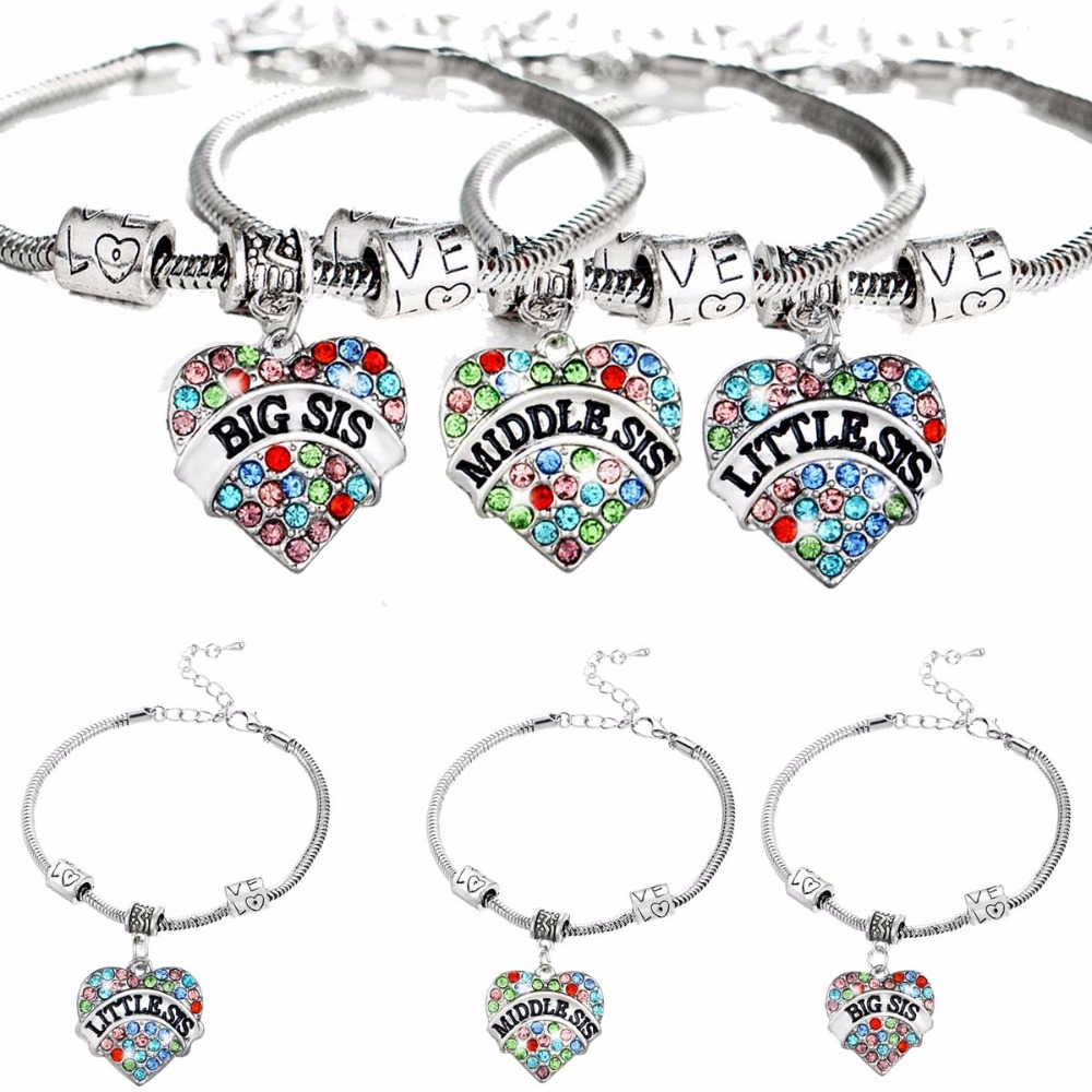 Fashion Family Sister Sis Bracelet Colorful Crystal Heart Love Beads Chain Bangles Women ...