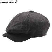 SHOWERSMILE Octagonal Cap Berets Herringbone Flat Hats Men Striped Grey Eight Piece Caps Male Tweed Vintage Autumn Painter