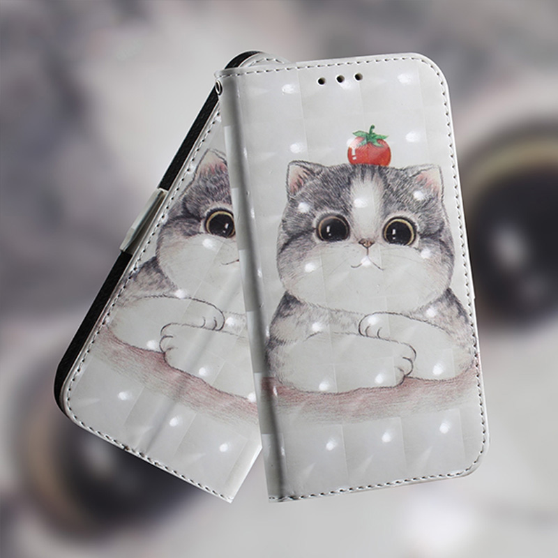Luxury Leather Wallet Flip Case For Samsung Galaxy S9 S8 J3 J4 J5 J6 J7 J8 A6 A8 Plus 2018 3D Cute Animal Cat New Bookcase Stand