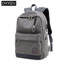 купить DINGXINYIZU student canvas school backpack men school bag usb charge casual travel backpack for laptop 15.6 bookbag schoolbag по цене 1583.25 рублей
