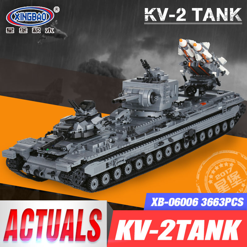 KV-2 Tank Set XingBao 06006 3663Pcs Creative MOC Military Series Educational Building Blocks Bricks Toys for Children Model Gift 8 in 1 large military figures warship fighter helicopter tank ship building blocks set children educational toys for boys