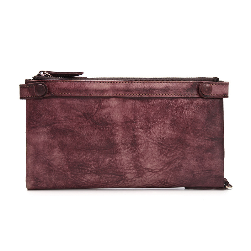 ФОТО Ms. wallet vegetable tanned leather retro casual leather clutch wallet long section of European and American style multi-functio