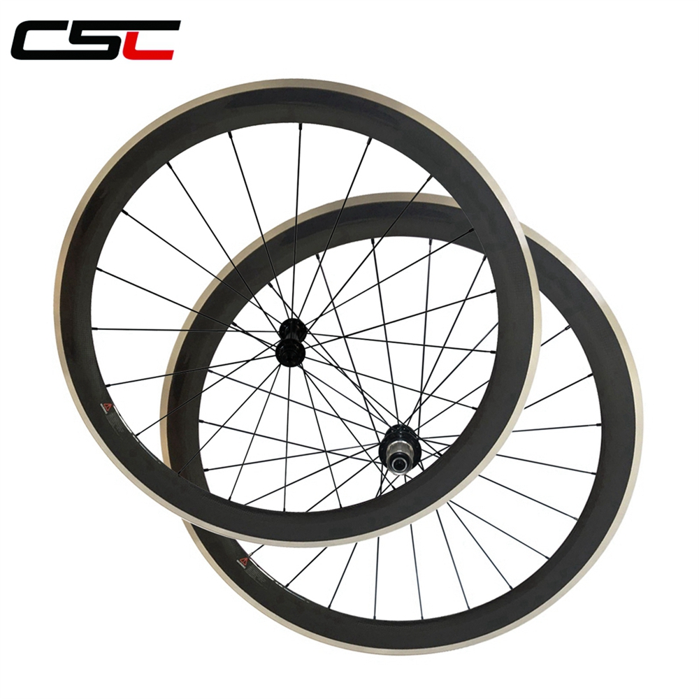 CSC 23mm width carbon 50mm clincher wheels with alloy breaking surface R13 Pillar 1432 1420 sapim