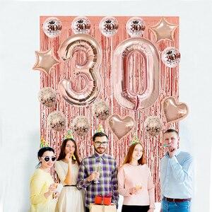 Image 4 - Chicinlife Globo de papel de aluminio rosa dorado, número de cumpleaños 30, caja de palomitas de paja para adulto, suministros para fiesta de cumpleaños y Aniversario
